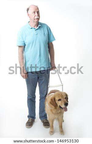 Guide dog and man isolated on white - stock photo