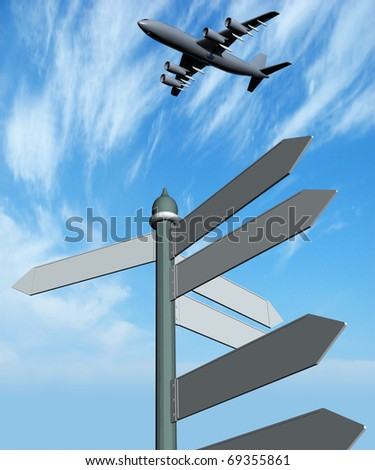 Guide sign and  plane on a background of  blue sky