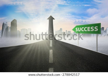 Guidepost with Success word pointing at the road turning into arrow upward symbolizing the road to success