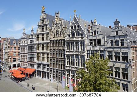 Guild houses of Antwerp, Belgium - stock photo