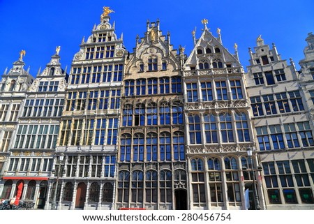Guildhall buildings with highly decorated facade in the main square of Antwerp, Belgium - stock photo