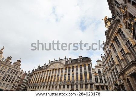 guildhalls at the famous square Grand Place in Brussels, Belgium - stock photo