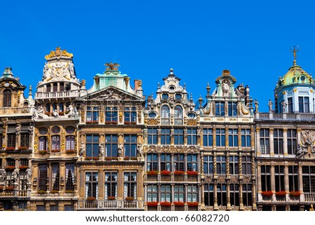 Guildhalls on the Grand Place, Brussels, Belgium. - stock photo