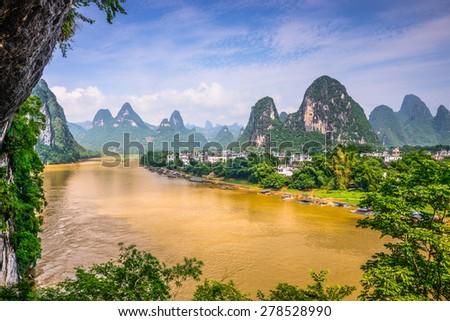 Guilin, China on the Li River. - stock photo