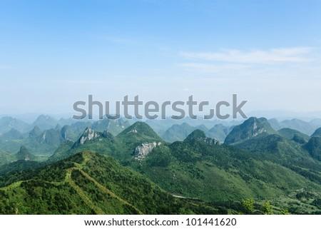 guilin hills,beautiful karst mountain landscape - stock photo