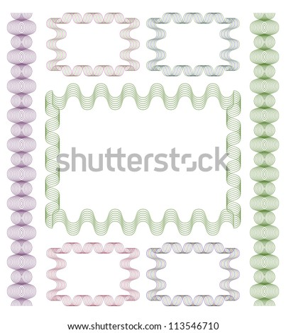 Guilloche frame set on a white background. EPS version is available as ID 10475800. - stock photo