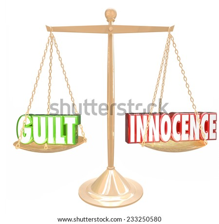 Guilt vs Innocence 3d words on a gold scale to weigh choices or decisions, judgment or verdict in a court case - stock photo