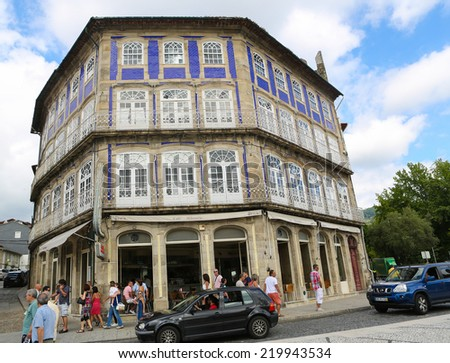 GUIMARAES, PORTUGAL - AUGUST 7, 2014: Typical architecture in the old center of Guimaraes, Northern Portugal.