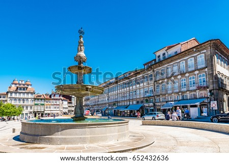 GUIMARAES, PORTUGAL - JUNE 11, 2016: View of the Historic Centre of Guimaraes in Portugal. The Historic Centre of Guimaraes is a UNESCO World Heritage Site.