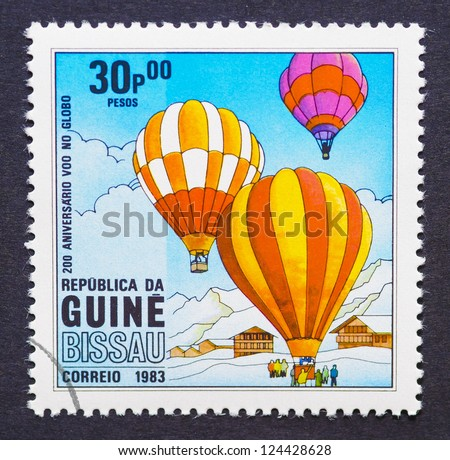 GUINEA-BISSAU - CIRCA 1983: a postage stamp printed in the Republic of Guinea-Bissau commemorative of the 200 anniversary of the first balloon flight, circa 1983.