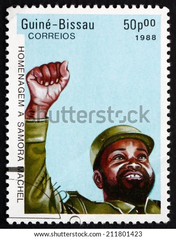 GUINEA-BISSAU - CIRCA 1988: a stamp printed in the Guinea-Bissau shows Samora Machel, President of Mozambique, circa 1988