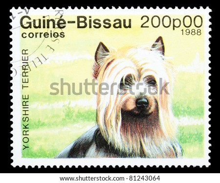 GUINEA-BISSAU - CIRCA 1988: A stamp printed in the Republic of Guinea-Bissau shows Yorkshire Terrier dog, circa 1988 - stock photo