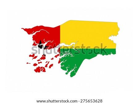 guinea bissau country flag map shape national symbol - stock photo
