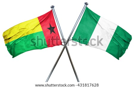 Guinea bissau flag with Nigeria flag, 3D rendering