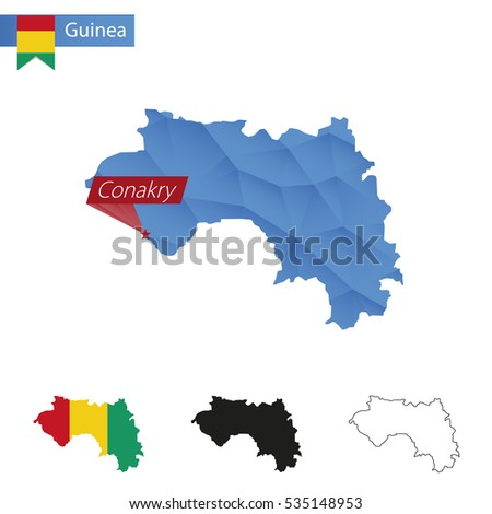 Guinea blue Low Poly map with capital Conakry, four versions of map. Raster copy.