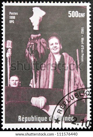 GUINEA - CIRCA 1998. A postage stamp printed by GUINEA shows image portrait of  Spiritual Leader of the Nation of Argentina Eva Peron, circa 1998.
