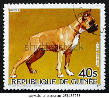 GUINEA - CIRCA 1985: a stamp printed in the Guinea shows Boxer, Dog, circa 1985 - stock photo