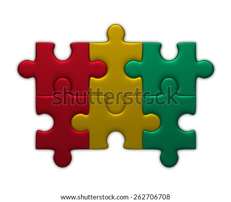 Guinea flag assembled of puzzle pieces isolated on white background - stock photo
