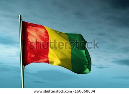 Guinea flag waving in the evening - stock photo