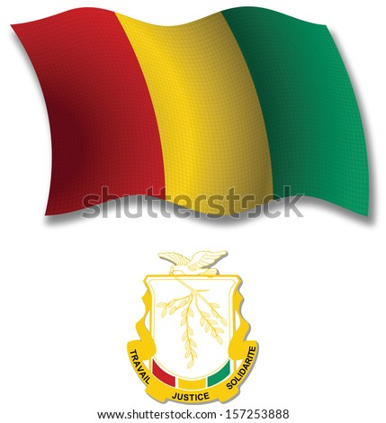 guinea shadowed textured wavy flag and coat of arms against white background, art illustration