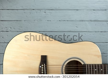 Guitar, Acoustic Guitar, Isolated. - stock photo