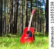 guitar acoustic in the grass in the forest - stock photo