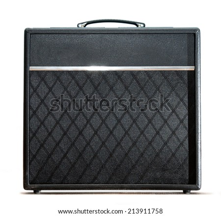 Guitar amplifier box on white background