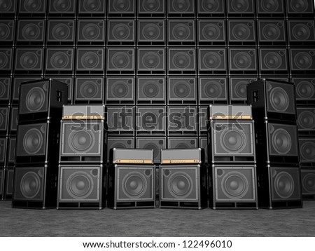 Guitar amps - stock photo