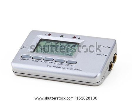 guitar and bass auto tuner in a white background - stock photo