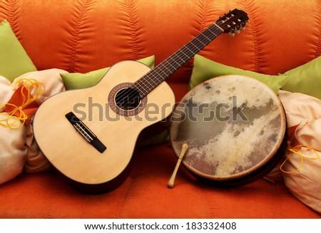 Guitar and Bodhran - stock photo