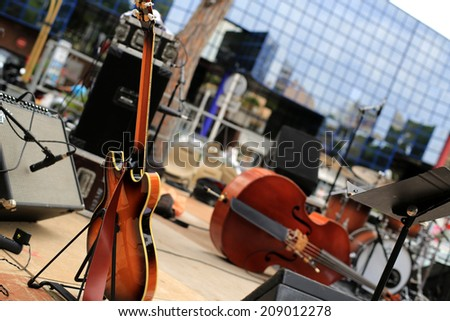 Guitar and musical instruments, musical performance - stock photo