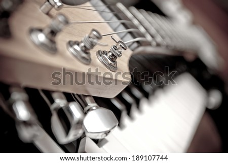 Guitar and piano - stock photo