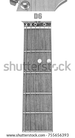 Guitar Chord D 6 Black White Isolate Stock Photo (Royalty Free ...