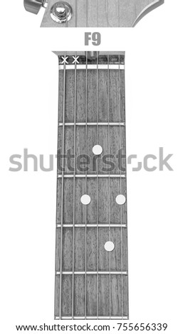 Guitar Chord F 9 Black White Isolate Stock Photo Royalty Free