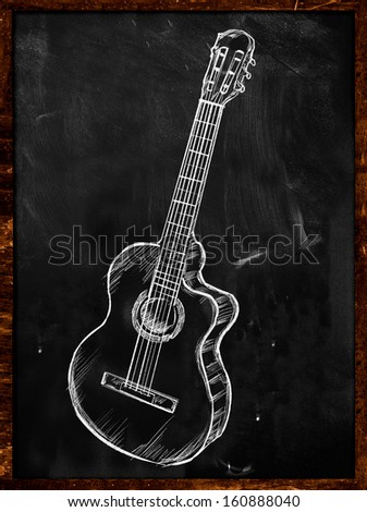Guitar Classic Acoustic Drawing On Blackboard Music Wallpaper