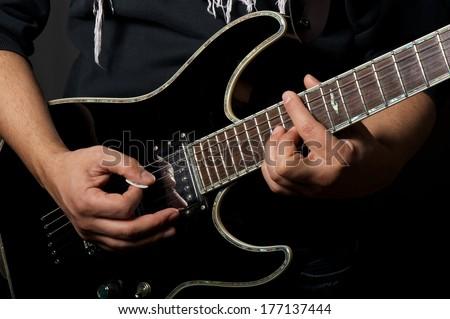 guitar close up - stock photo