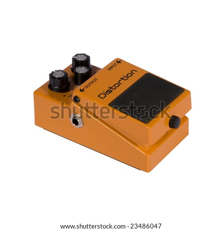 guitar distortion pedal effect overdrive sound music metal rock blues - stock photo