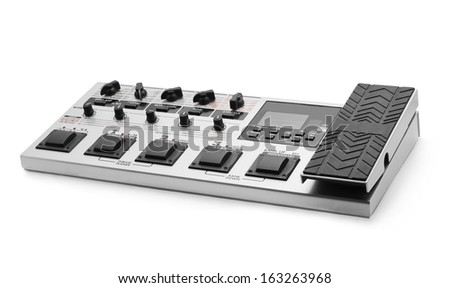 guitar effect processor on white - stock photo