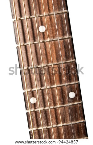 guitar fingerboard isolated on a white background - stock photo