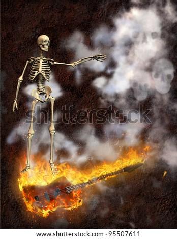 Guitar Fire - stock photo