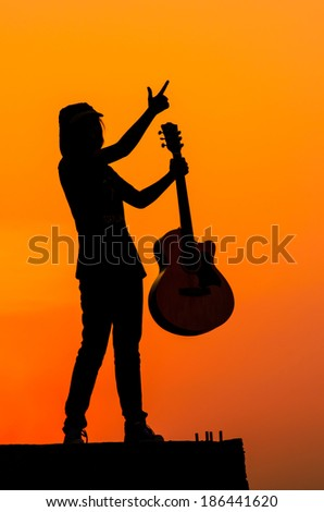 guitar girl, silhouette