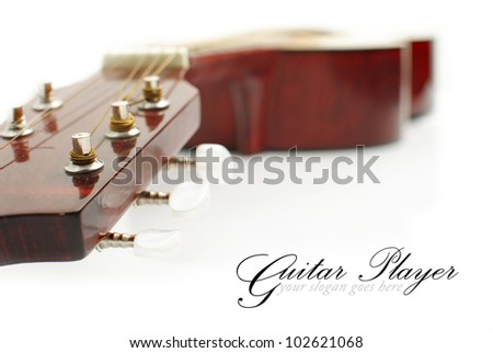 guitar head isolated on white, copy space - stock photo