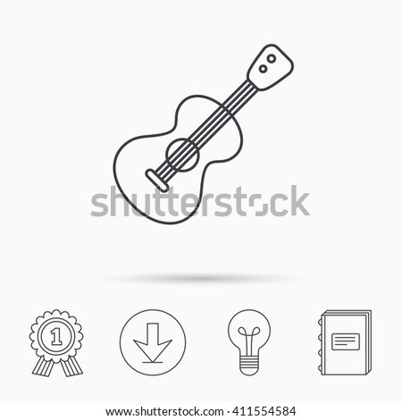Guitar icon. Musical instrument sign. Band guitarist symbol. Download arrow, lamp, learn book and award medal icons. - stock photo