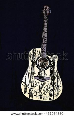 guitar illustration,instruments illustration,music,notes,song,beige guitar,acoustic guitar,acoustic instruments,guitar classic,song,musicians,acoustic guitar,guitar on black,guitar on black in studio - stock photo