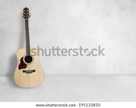 Guitar in blank empty room background - stock photo
