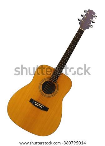 Guitar isolated on white background - stock photo