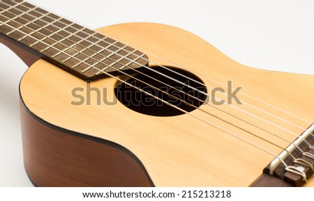 guitar isolated on white background, Close-up - stock photo