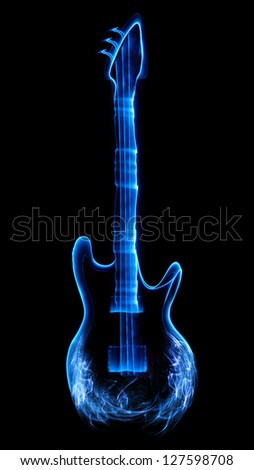 Guitar made of light and smoke. - stock photo