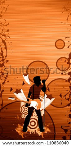 Guitar man singing abstract background with space - stock photo