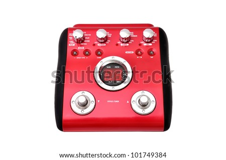 Guitar multi effects pedal isolated on white - stock photo